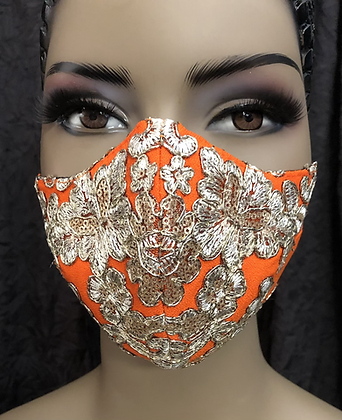 Tangerine w/ Gold Sequin Lace Mask