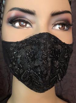 Black Mask w/ Black Beaded Lace