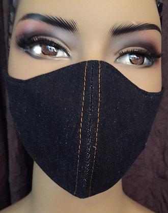 Denim Mask w/ Gold Top Stitching