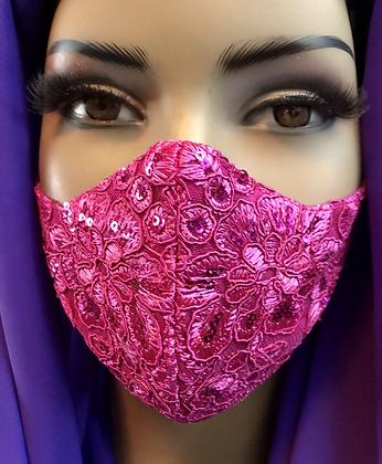 Fuchsia Lace Mask