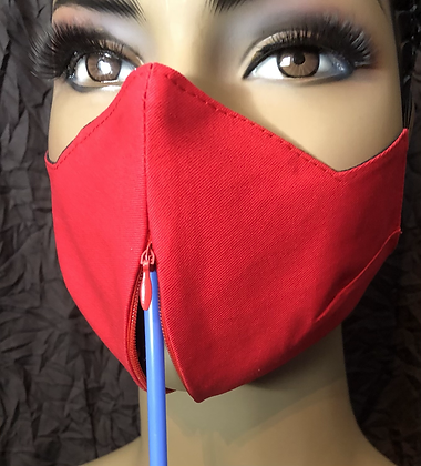Red Invisible Zipper Mask