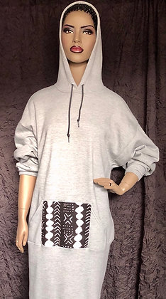 Gray Hooded Sweatshirt Dress