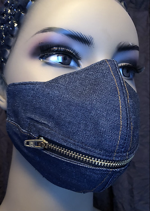 Denim Zipper Face Mask