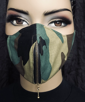 Camouflage Vertical Zipper Mask