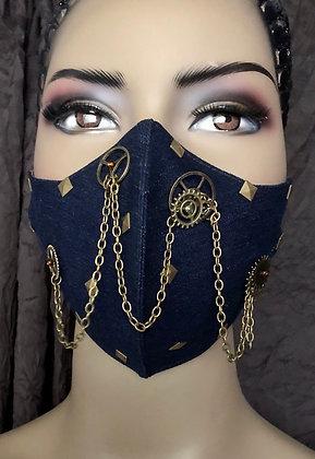 Dark Denim Steampunk Mask