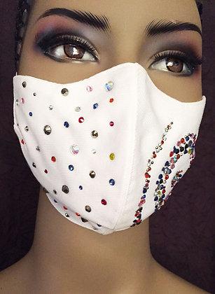 White Swirl Rhinestone Mask