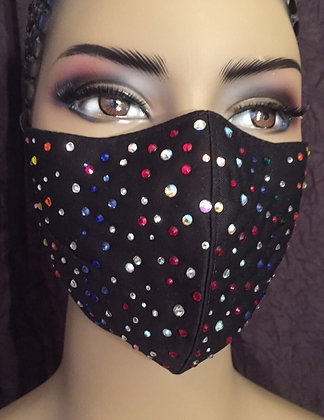 Black Mask w/Multi-color Rhinestones