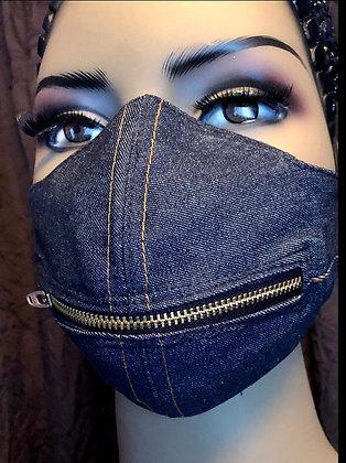 Denim Horizontal Zipper Mask