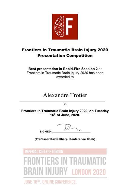 Alexandre Trotier Receives Best Rapid-Fire Presentation Award at Frontiers in Traumatic Brain Injury