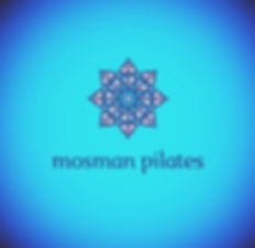 Alt='mosman pilates logo with eight-pointed star mandala on turquoise blue background'