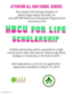 HBCU for Life Scholarship Flyer - revise