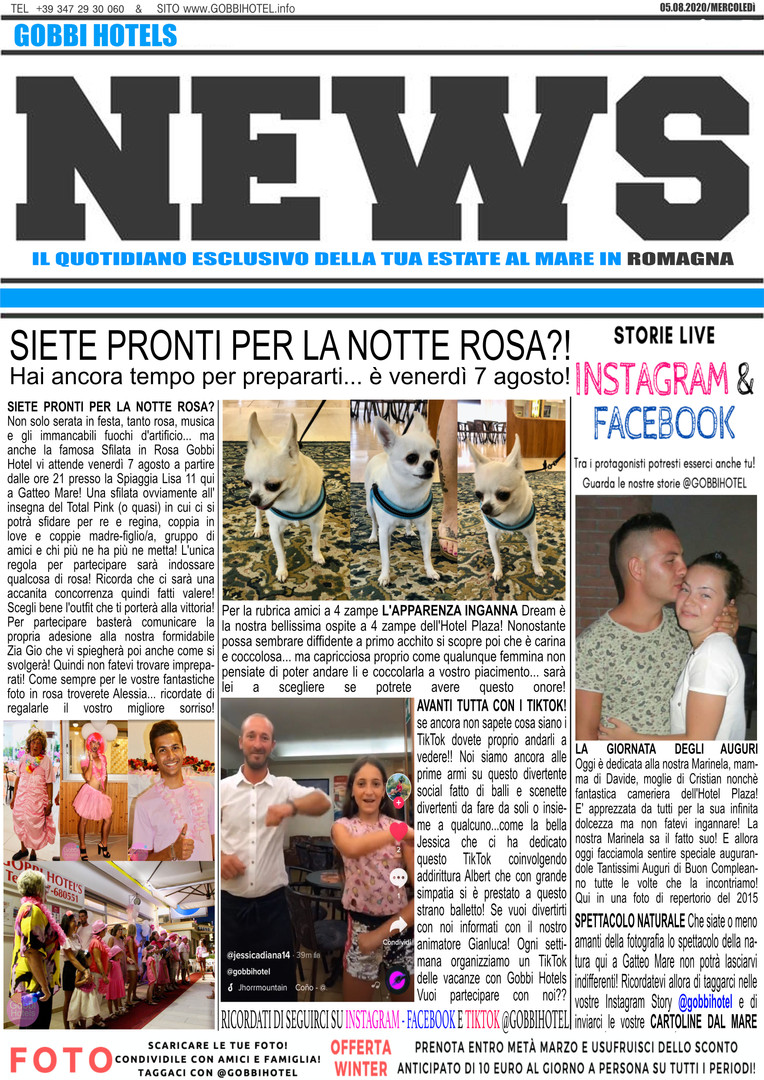 Editoriale 5 agosto 2020 - Gobbi Hotels