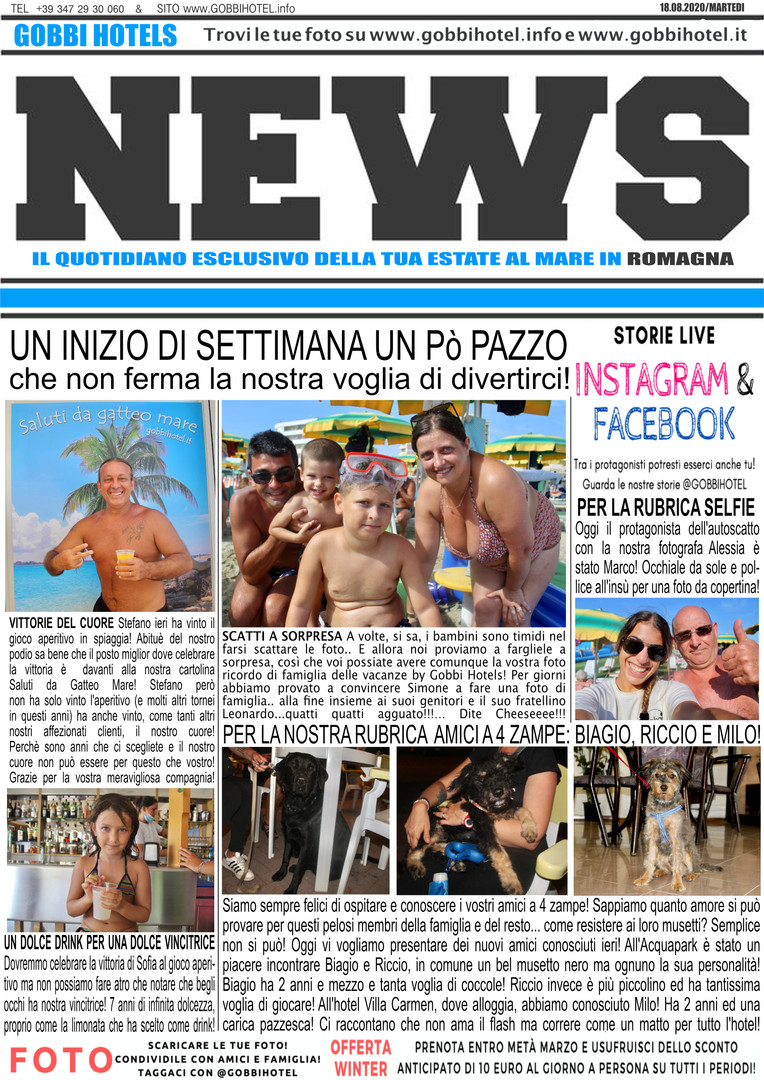 Editoriale 18 agosto 2020 - Gobbi Hotels
