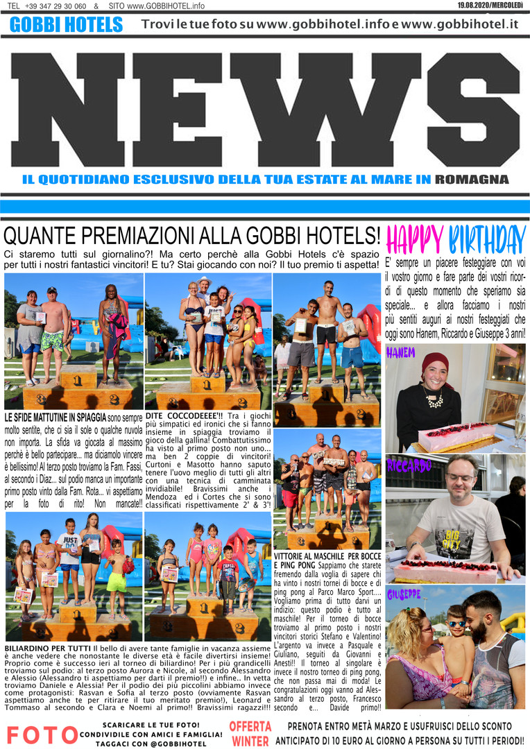 Editoriale 19 agosto 2020 - Gobbi Hotels