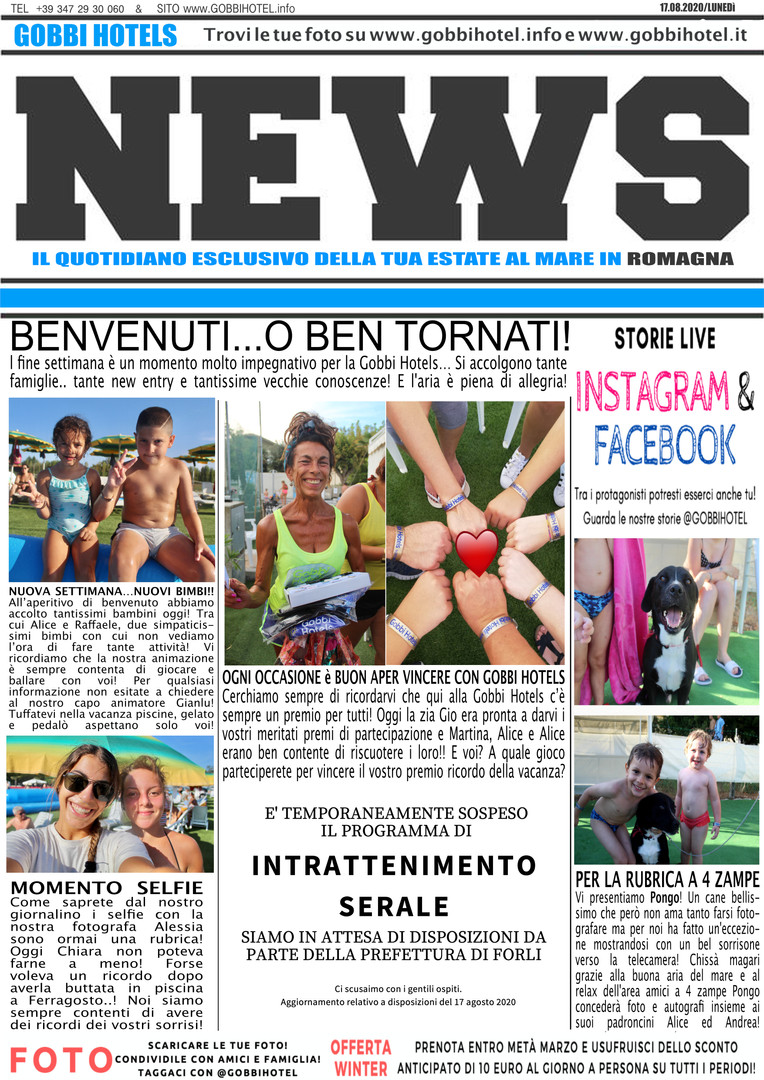 Editoriale 17 agosto 2020 - Gobbi Hotels