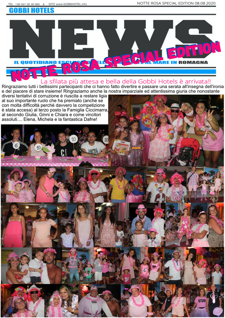 Editoriale 8 agosto 2020 Notte Rosa Spec