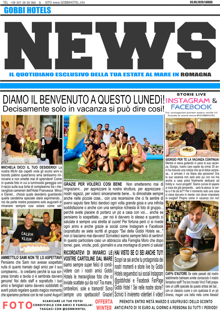 Editoriale 3 agosto 2020 - Gobbi Hotels