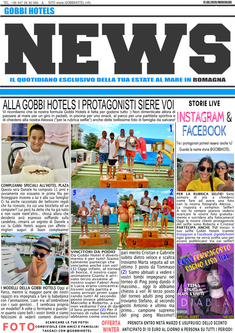 Editoriale 12 agosto 2020 - Gobbi Hotels