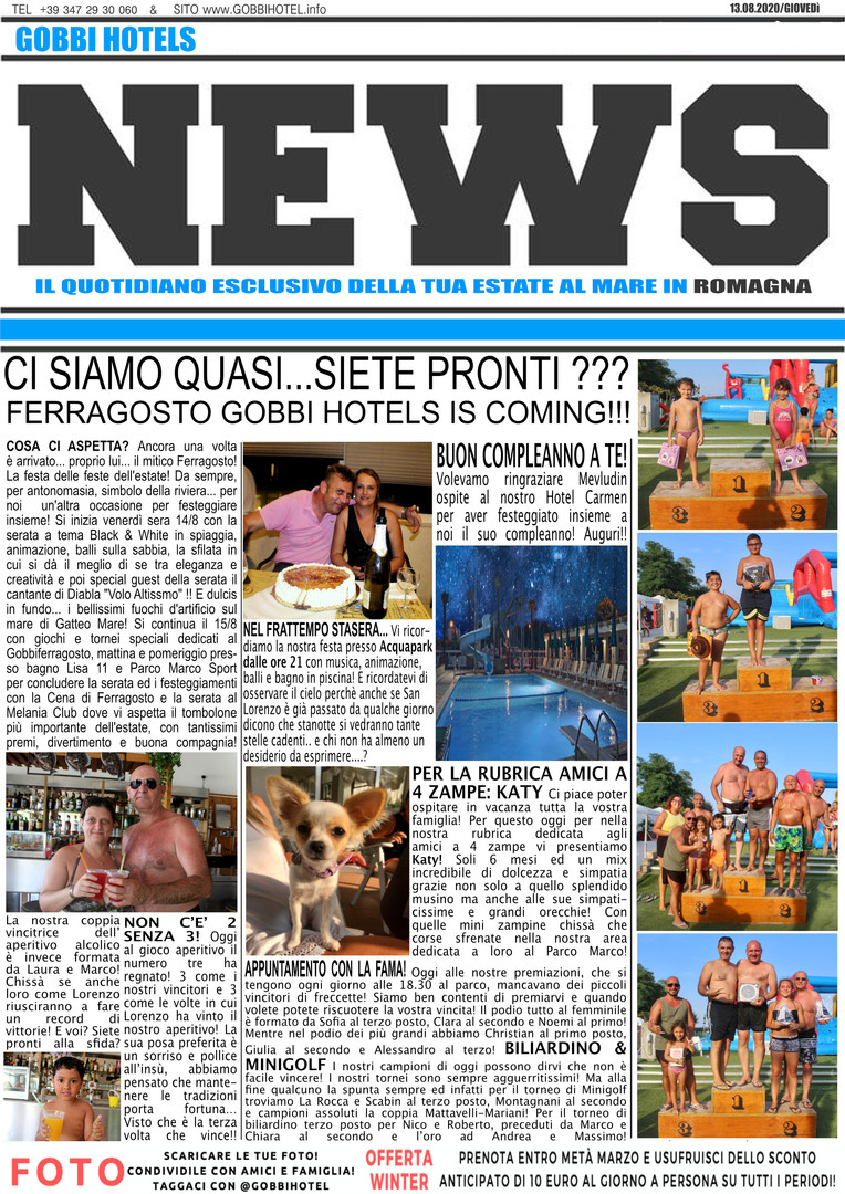 Editoriale 13 agosto 2020 - Gobbi Hotels