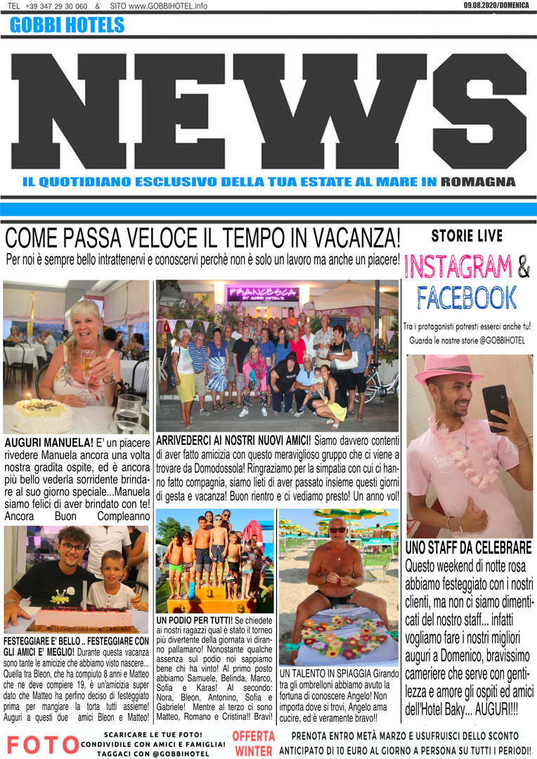 Editoriale 9 agosto 2020 - Gobbi Hotels