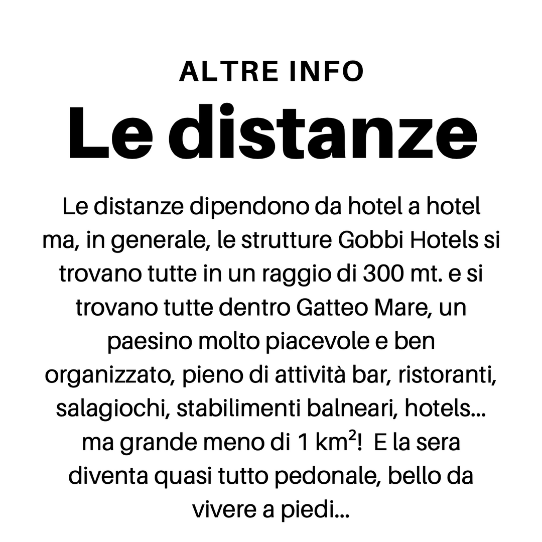 Le distanze Gobbi Hotels Gatteo Mare Formula Villaggio
