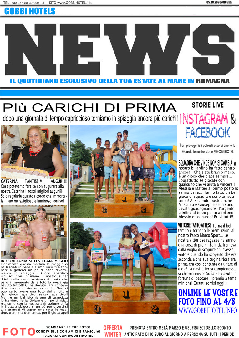 Editoriale 6 agosto 2020 - Gobbi Hotels