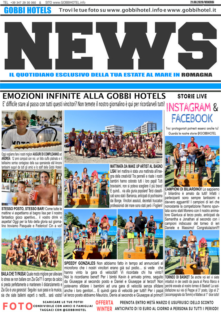 Editoriale 21 agosto 2020 - Gobbi Hotels