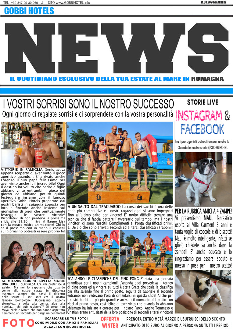 Editoriale 11 agosto 2020 - Gobbi Hotels