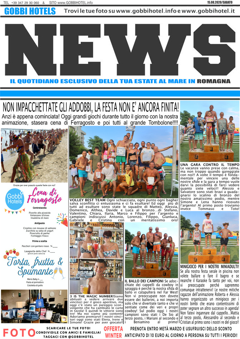 Editoriale 15 agosto 2020 - Gobbi Hotels