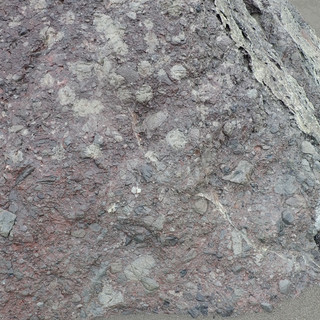 A strange melange-like unit present in one of the many serpentinite slivers along the coast