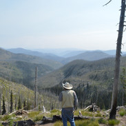 Reed Lewis looking out over the Burnt Knob area