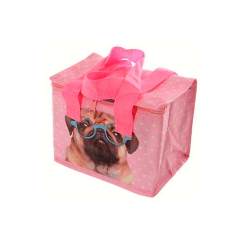 Woven Cool Bag Lunch Box - Pink Pug
