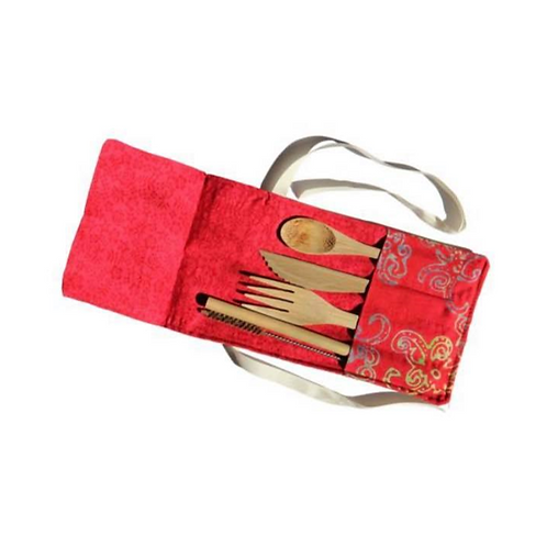 Bamboo Cutlery Set in Red Cotton Pouch
