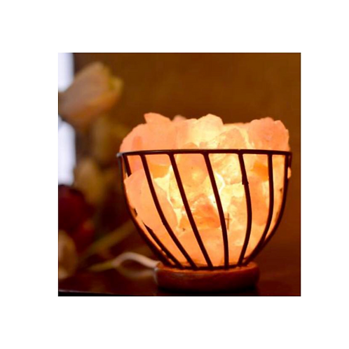 Himalayan salt lamp metal bowl with chips 15cm