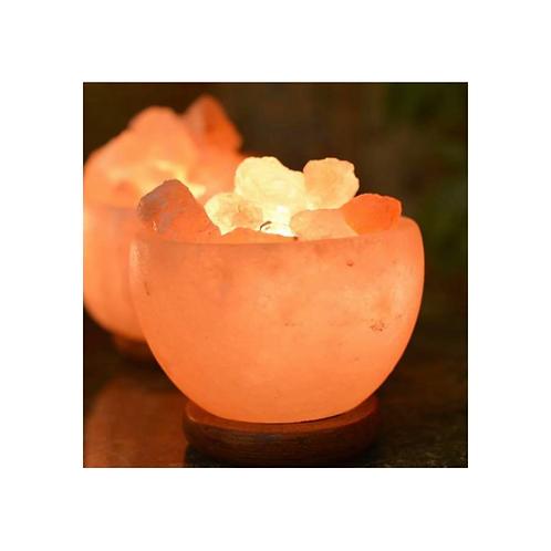 Himalayan salt bowl lamp with salt chips 14-15cm