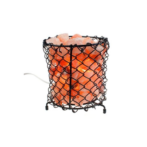 Metal grid bowl with Himalayan salt chips 17.5cm