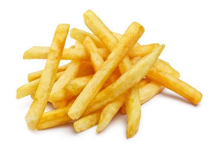 Heap of tasty potato fries, isolated on