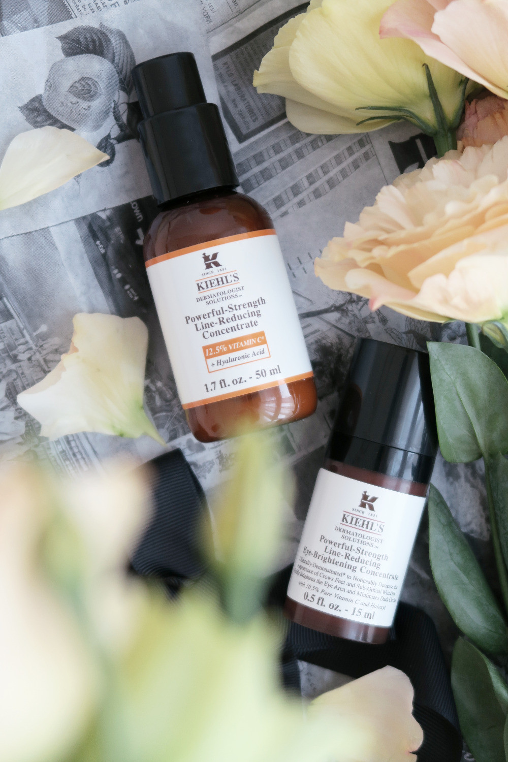 kiehls powerful strength line reducing concentrate and eye brightening concentrate review