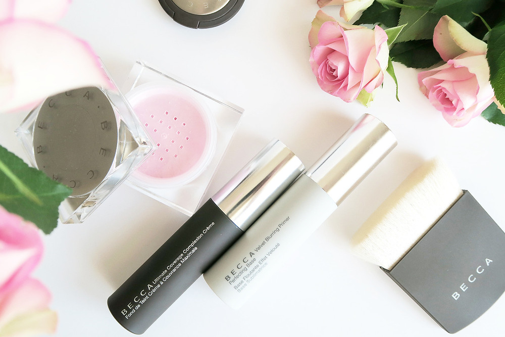 becca cosmetics ultimate coverage complexion creme velvet blurring primer and soft focus light blurring powder pink haze review