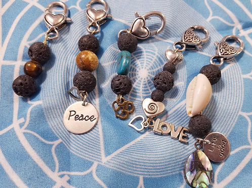 Lava/gemstone key chains/bangles (see prices and order info below)