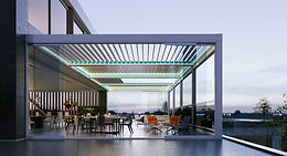 AEROLUX, Innovative, modern and functional outdoor bioclimatic aluminum patio solution, both tilting and retractable.