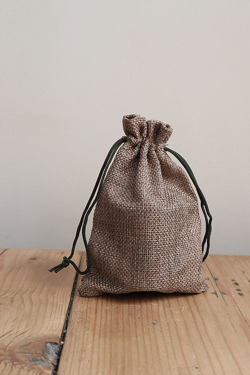 small olive jute gift bag