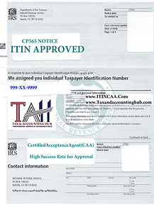 ITIN APPROVAL NOTICE 565 FOR CONTACT PAG