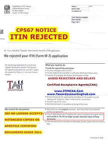 ITIN APPROVAL NOTICE 567 FOR CONTACT PAG