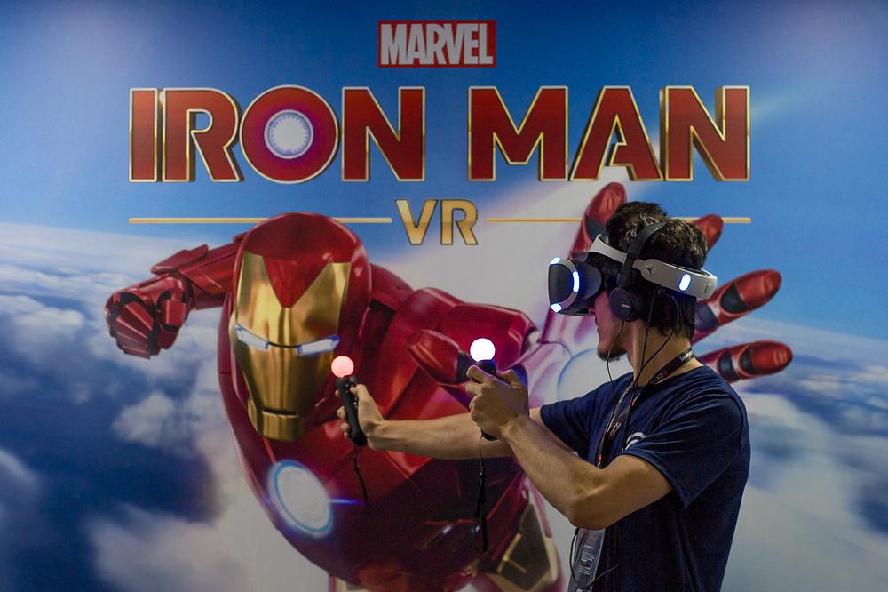 O estande da Playstation disponibilizou 10 minutos para demonstração do jogo Iron Man VR (Foto: Bruno Bragante / Be Geeks)