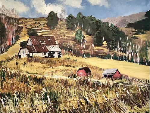 "Barn Scene Acrylic painting, 24"" h x 36"" w"