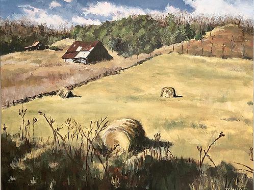 "Farm in Boone, NC, 24"" h x 36"" wide"