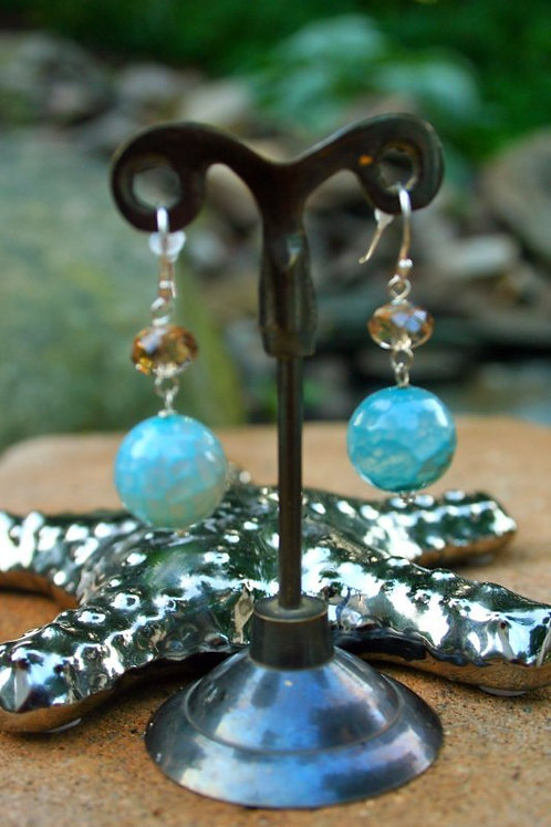Chalcedony & Crystal Earrings