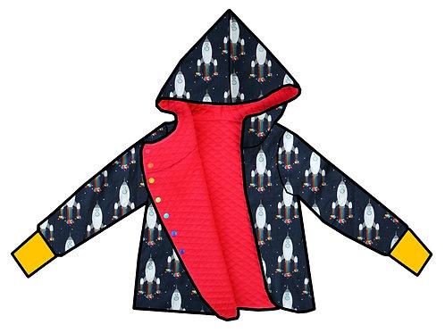 Gilet réversible rouge corail/fusées