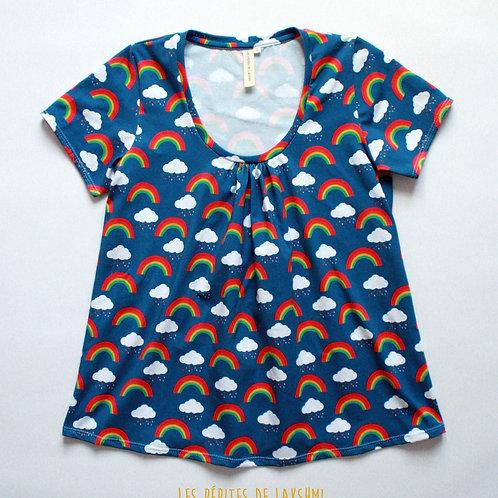 Tee-shirt MC femme arc-en-ciel et nuages - 34-46